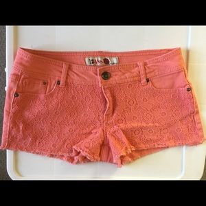 Coral Lace Jean Shorts